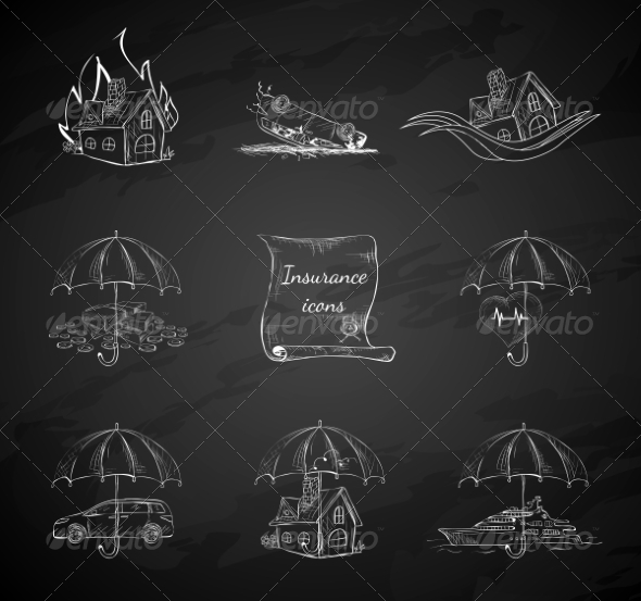 Chalkboard Insurance Security Icons - Web Elements Vectors