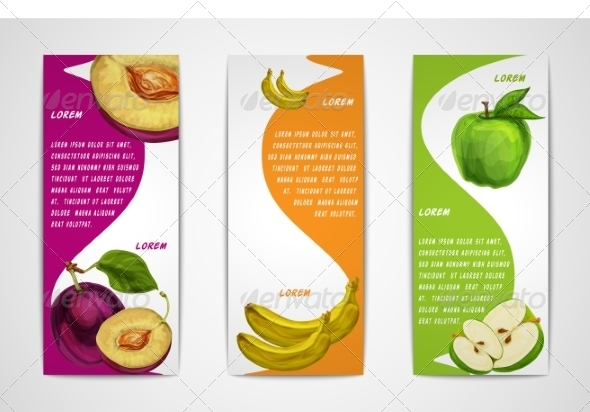 Mixed Organic Fruits Banners Collection - Borders Decorative