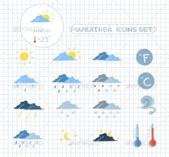 Weather Forecast Icons Set - Web Elements Vectors