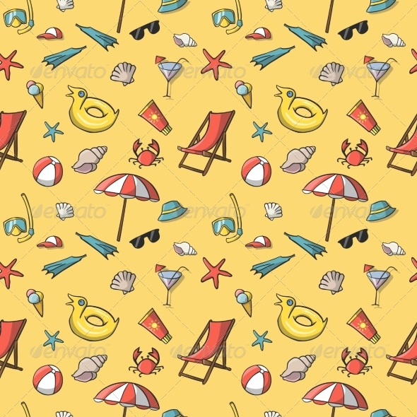 Seamless Summer Vacation Travel Pattern - Backgrounds Decorative