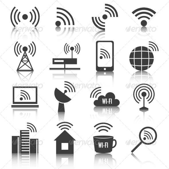 Wireless Communication Network Icons Set - Web Elements Vectors
