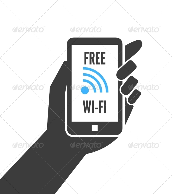 Hand Holding Smartphone with Free Wifi - Concepts Business