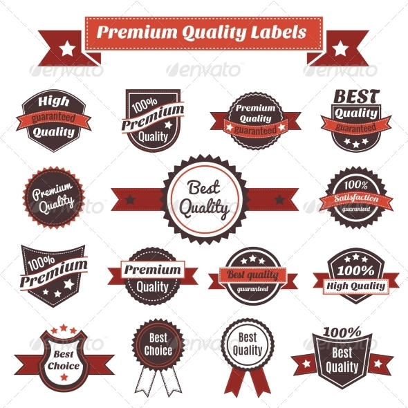 Premium Quality Labels and Badges Collection - Decorative Symbols Decorative