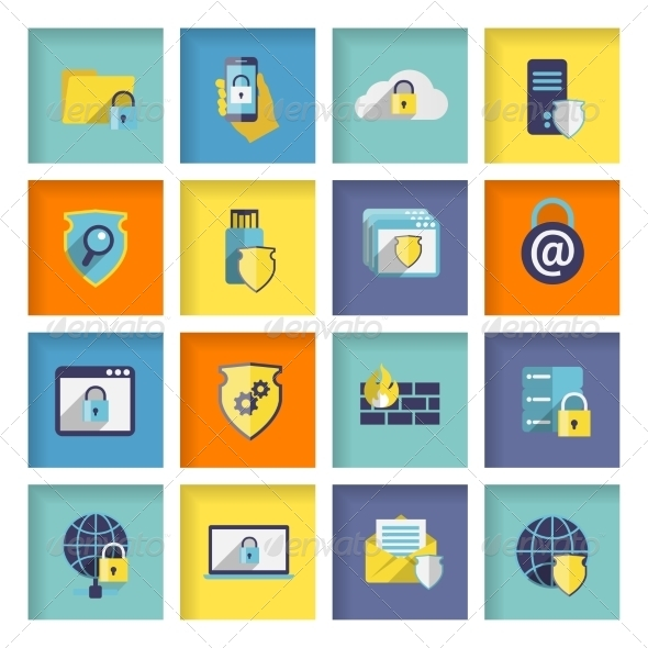 Information Technology Security Icons Set - Web Elements Vectors