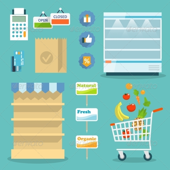 Supermarket Food Shopping Internet Concept - Food Objects