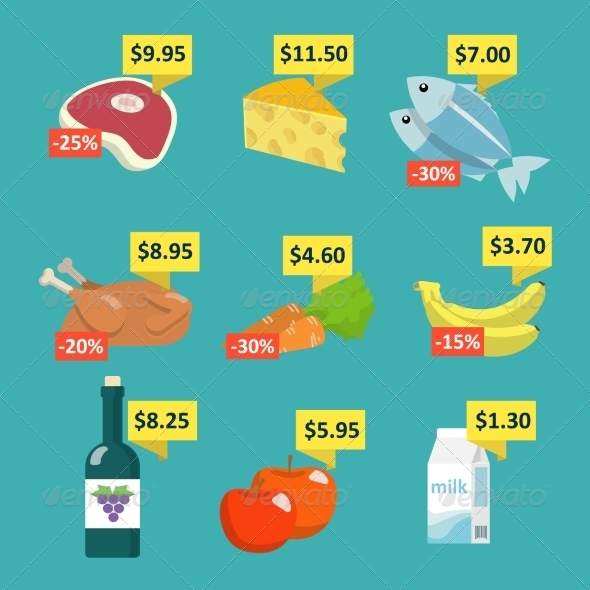 Supermarket Food with Price Tags - Food Objects