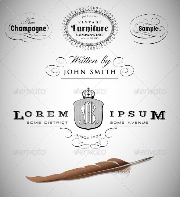 vector set: calligraphic design elements - Flourishes / Swirls Decorative