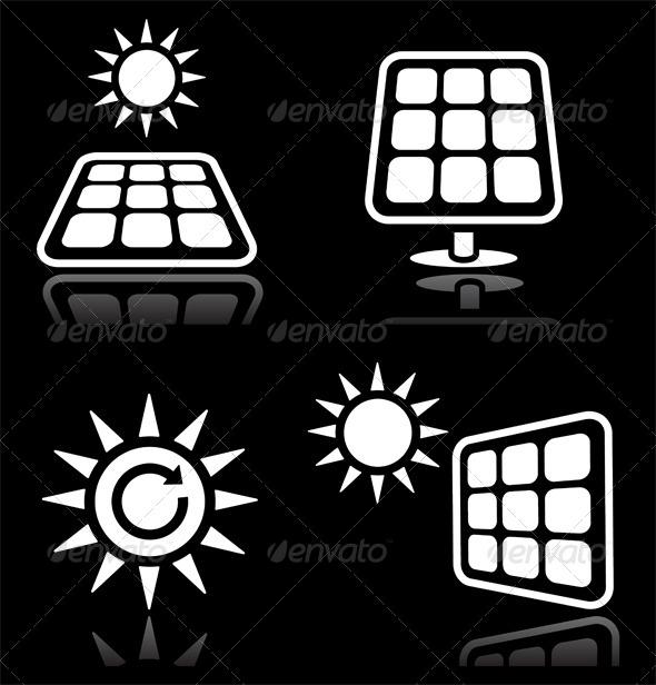Solar Energy Icons Set - Nature Conceptual