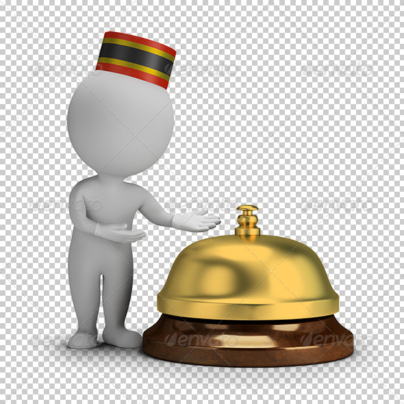 3D Small People - Bellboy and Service Bell - Characters 3D Renders