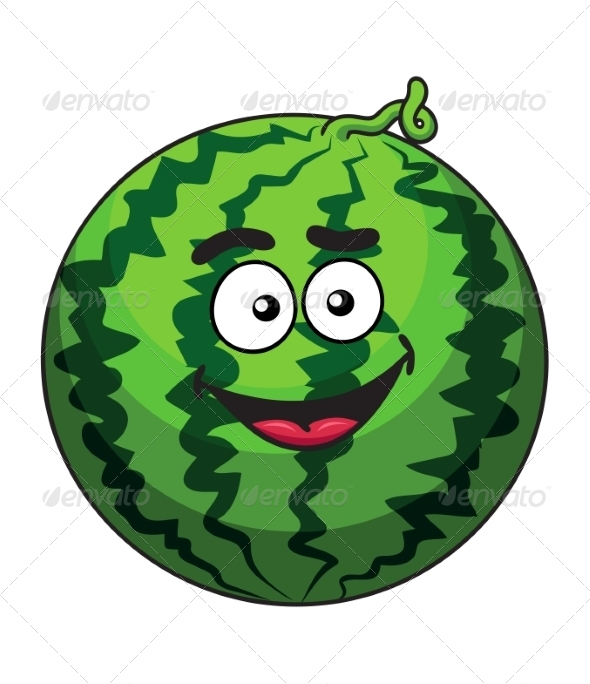 Cartoon Green Watermelon Fruit - Food Objects