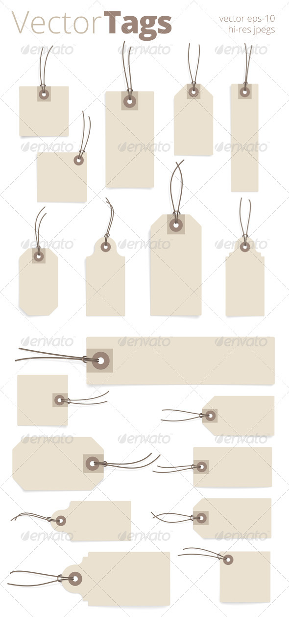 Paper Tag Set - Objects Vectors