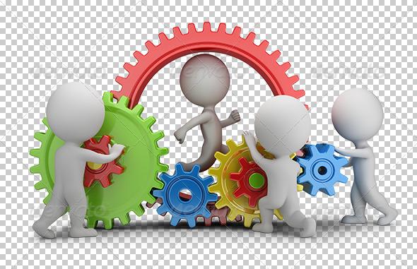3D Small People - Team Mechanism - Characters 3D Renders