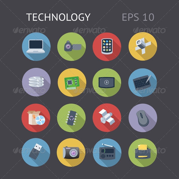 Flat Icons For Technology - Technology Icons