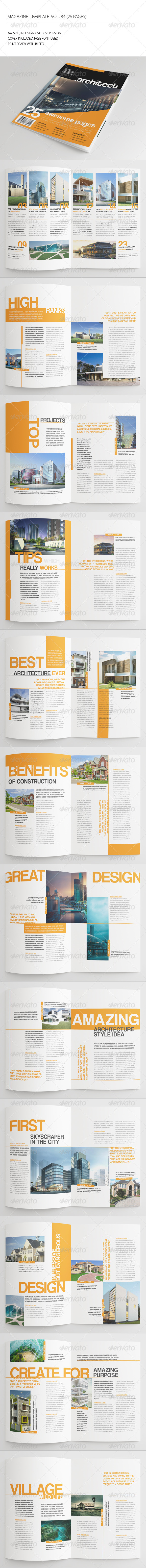 25 Pages Architecture Magazine Vol34 - Magazines Print Templates