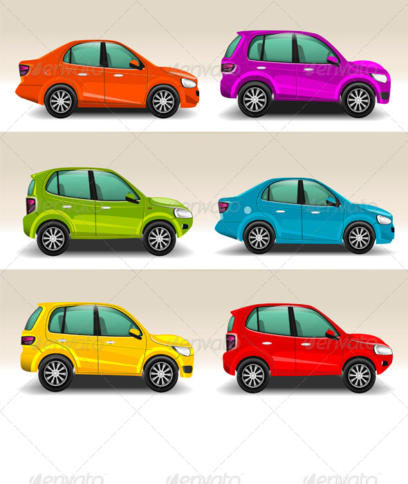 Colorful Cars - Man-made Objects Objects