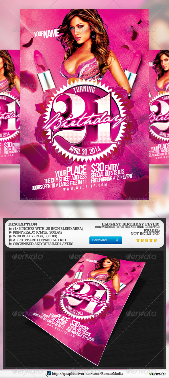 Elegant Birthday Flyer - Clubs & Parties Events
