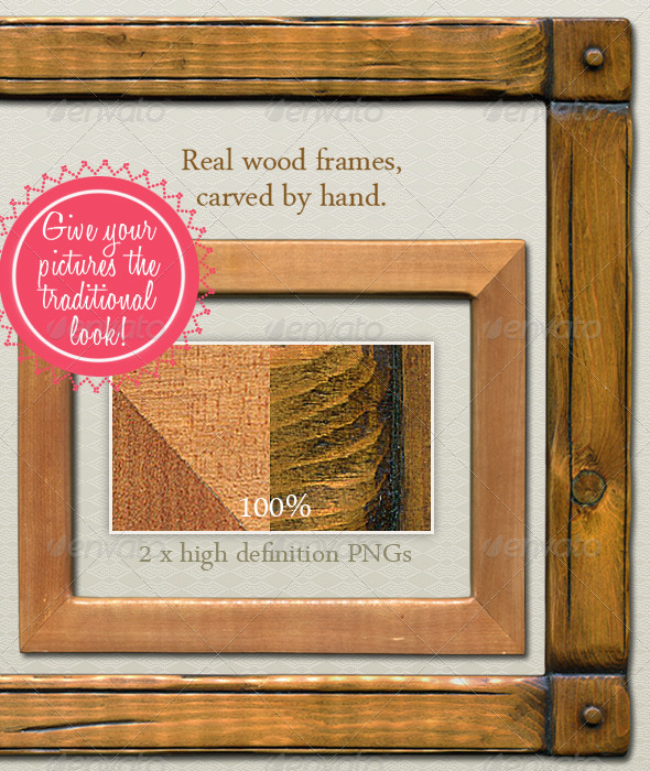 Hand-Carved Wood Picture Frame - Traditional - Home & Office Isolated Objects