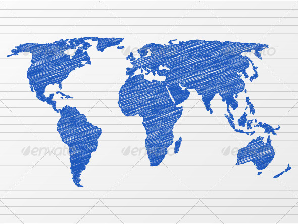 Drawing world map by julydfg graphicriver drawing world map gumiabroncs Choice Image