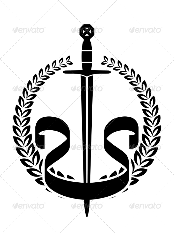 Wreath with Sword - Tattoos Vectors