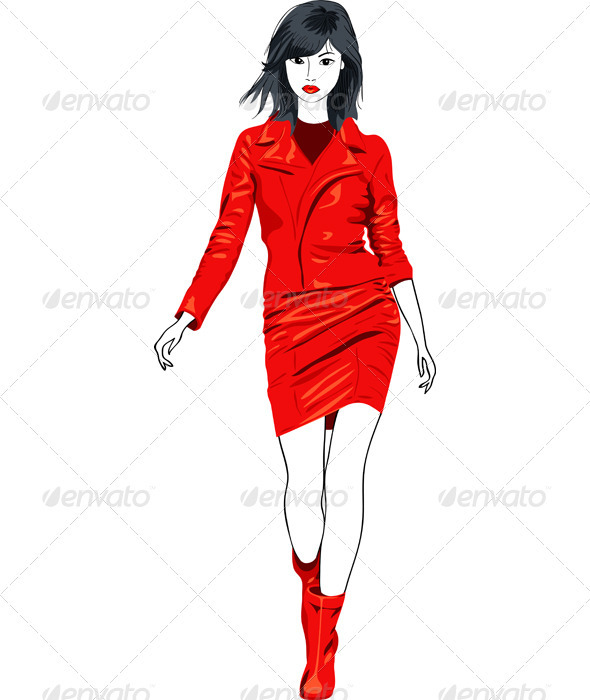 Vector fashion Asian girl in a red leather suit - People Characters