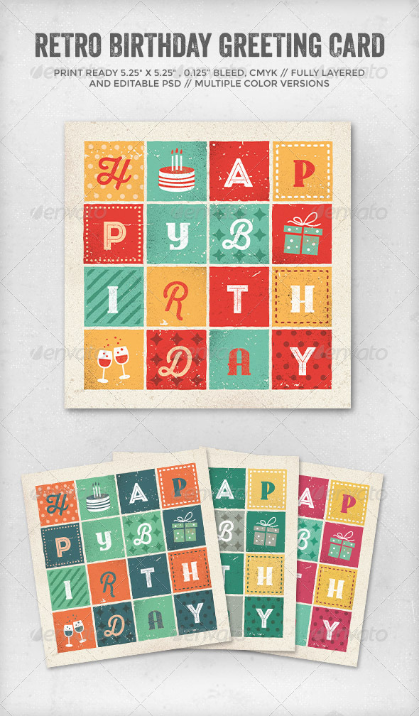 Retro Letters Birthday Card - Birthday Greeting Cards