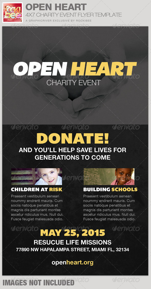 Open Heart Charity Event Flyer Template - Church Flyers