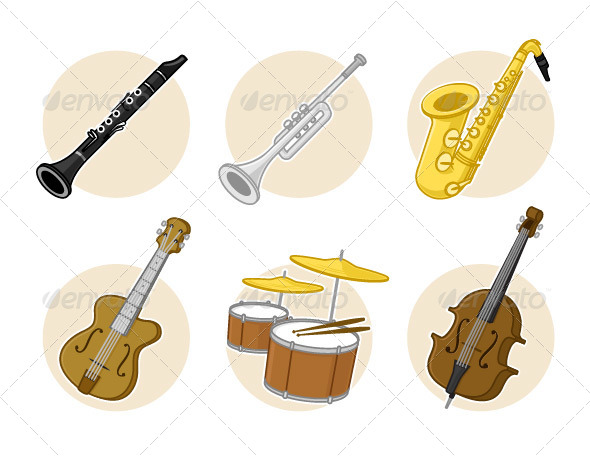 Jazz Instruments - Objects Vectors