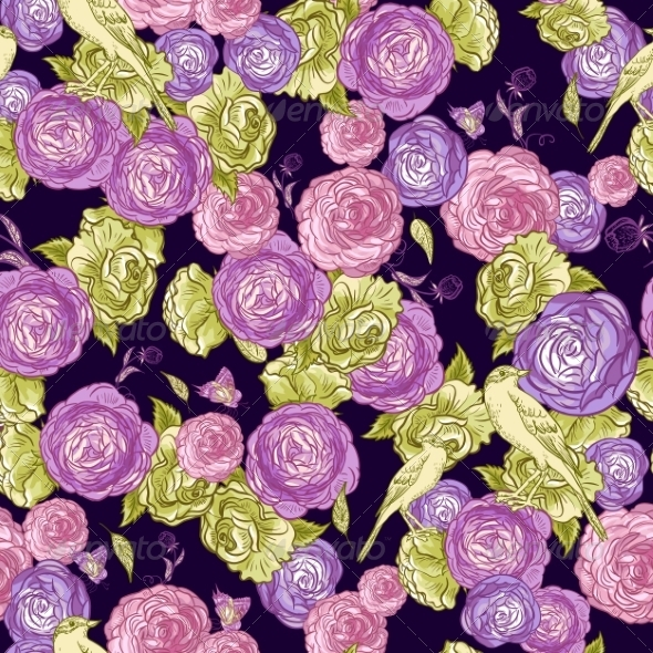 Seamless Rose Background with Birds - Patterns Decorative