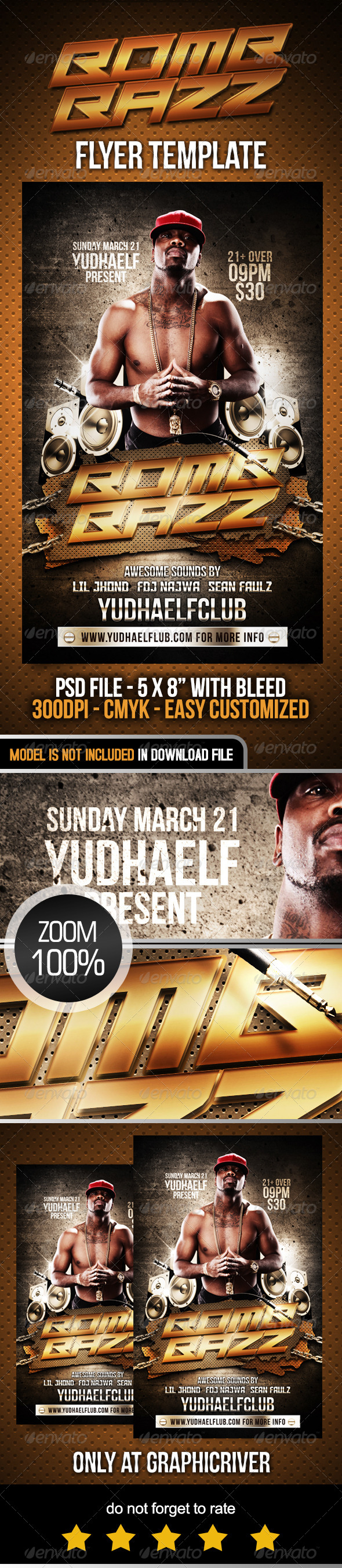 Bomb Bazz Flyer Template - Clubs & Parties Events