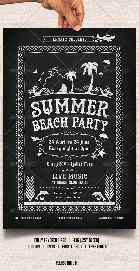 Chalkboard Summer Beach Party - Clubs & Parties Events