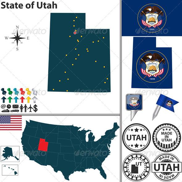 Map of State Utah, USA - Travel Conceptual
