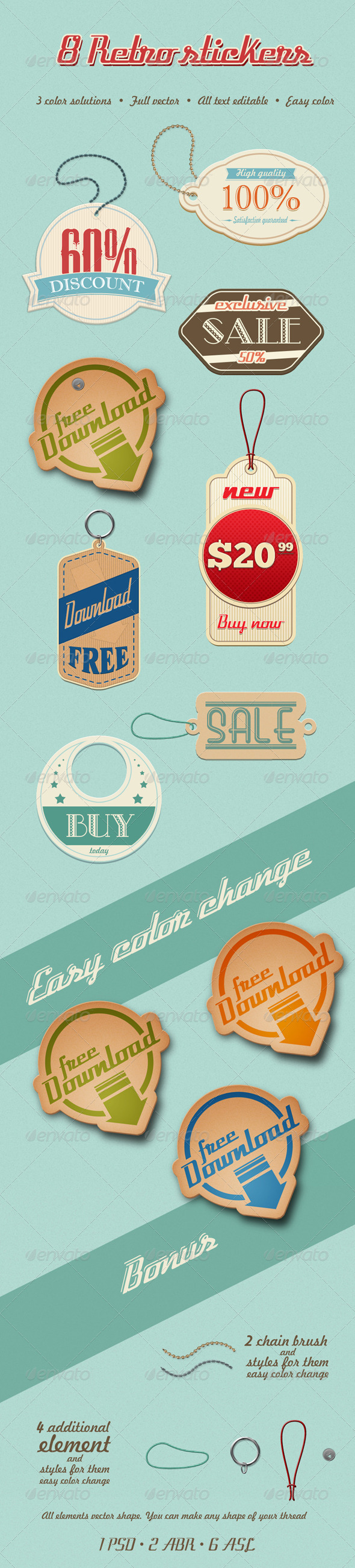 8 Retro Stickers - Badges & Stickers Web Elements