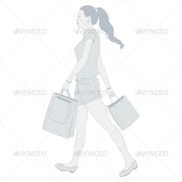 Girl Shopping - People Characters