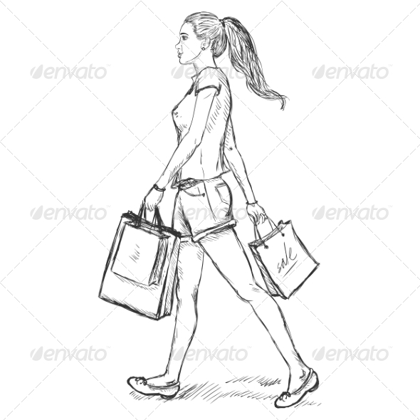 Sketch Shopping Girl  - People Characters