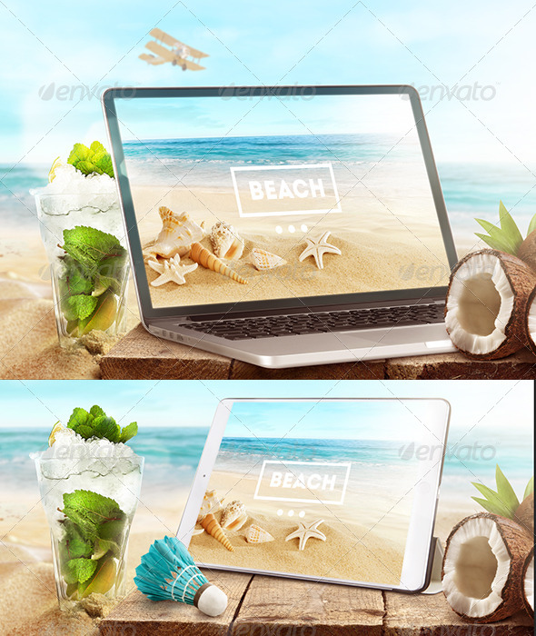 Mock-Up Laptop and tablet (PSD). Beach style - Product Mock-Ups Graphics