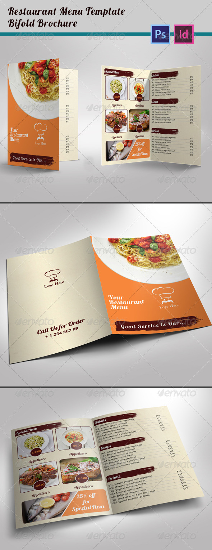 Restaurant Menu Template Bi Fold Brochure   Informational Brochures