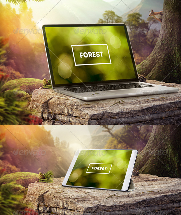 Mock-Up Laptop and tablet (PSD). Forest style - Product Mock-Ups Graphics
