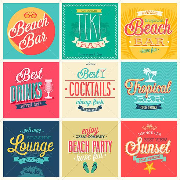 Beach Bar Emblems. - Decorative Symbols Decorative