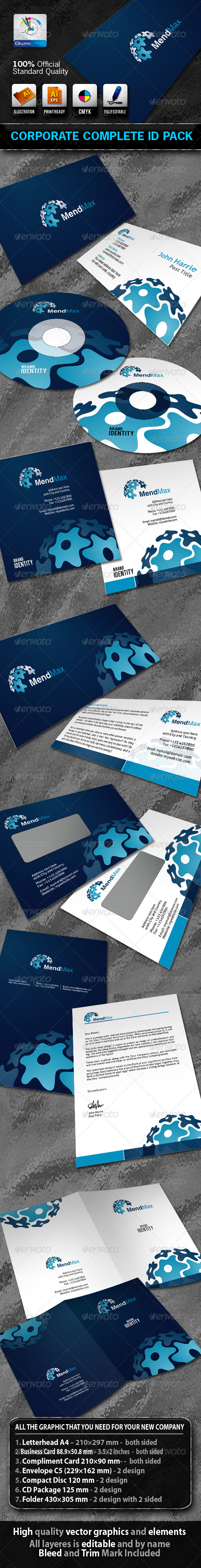 MendMax Business Corporate ID Pack With Logo - Stationery Print Templates