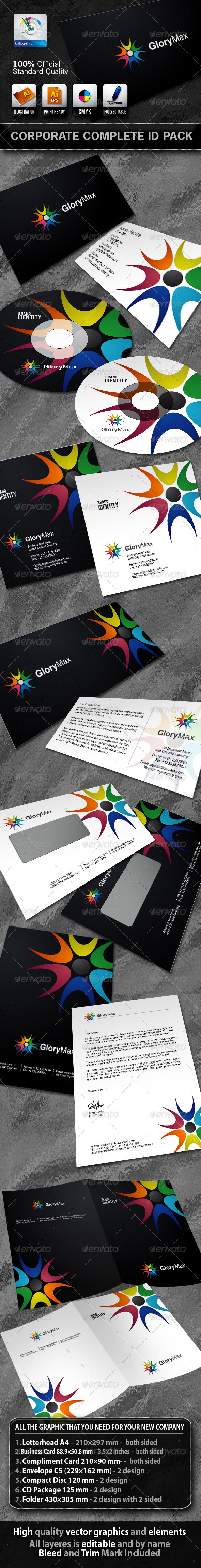 GloryMax Business Corporate ID Pack With Logo - Stationery Print Templates