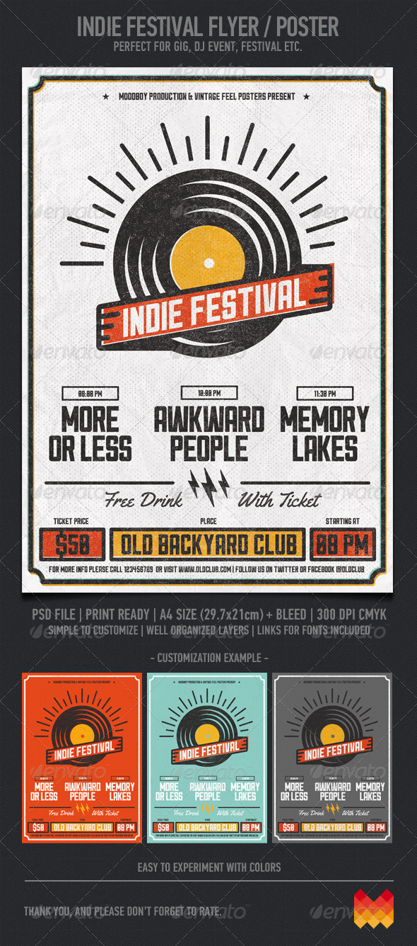 Indie Festival - Flyers Print Templates
