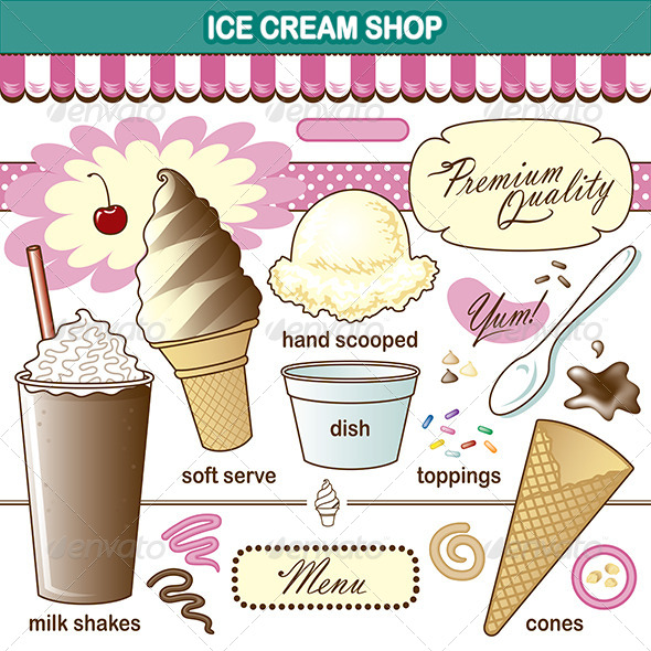 Vector Art Ice Cream Shop Set Toppings Shake - Food Objects