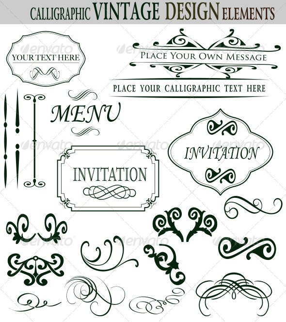 Premium Quality Calligraphic Design Elements - Decorative Symbols Decorative