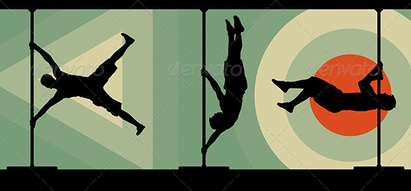 Male Pole Dancers Performing Pole Moves - Sports/Activity Conceptual