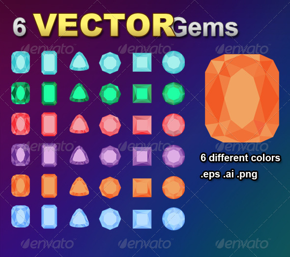 6 Flat Gems - Objects Vectors