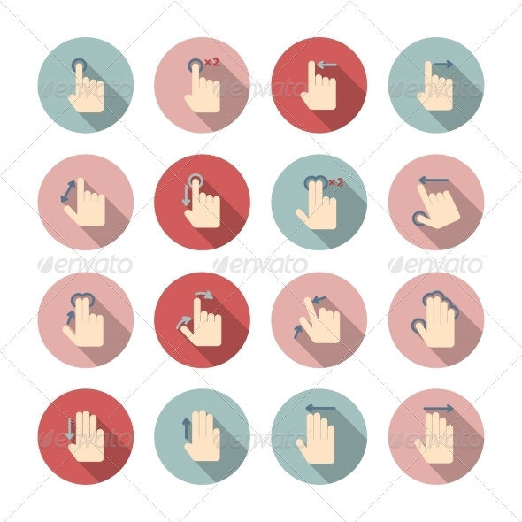 Hand Touch Gestures Icons Set - Web Icons