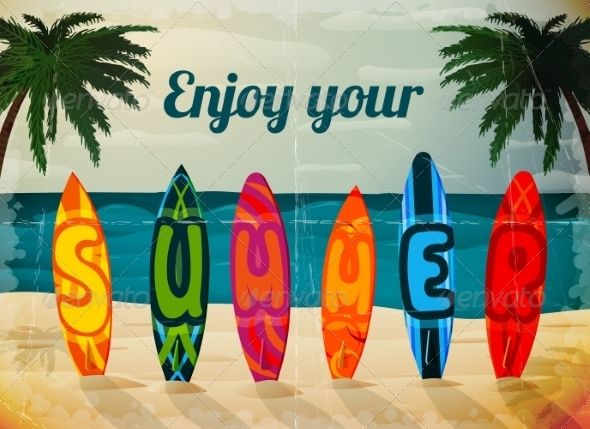 Summer Vacation Surfboard Poster - Travel Conceptual