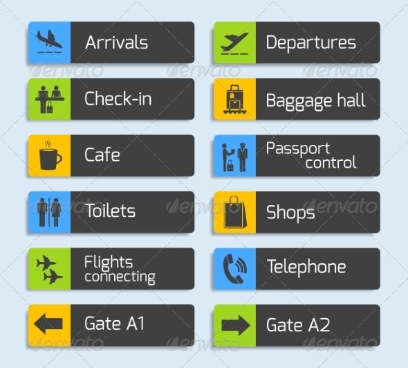 Airport Navigation Design Signboards Set - Travel Conceptual