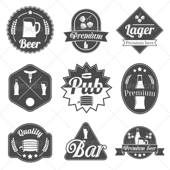 Alcohol Beer Label Badges Collection - Decorative Symbols Decorative