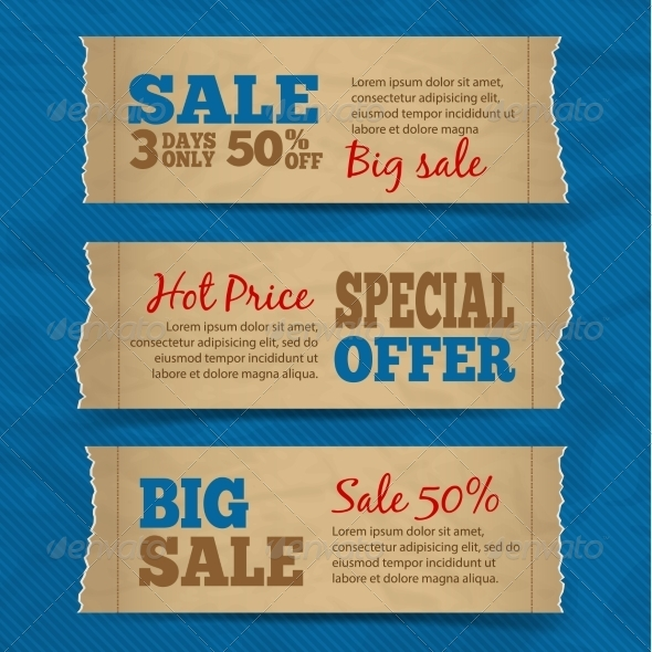 Cardboard Sale Banners Set - Retail Commercial / Shopping